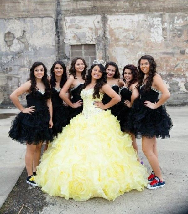 Quinceanera Dresses Yellow | Dama Dresses for Quince | Black Dresses |