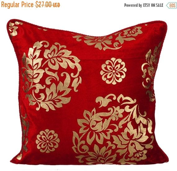 10% HOLIDAY SALE Gold C -  Checkout this gorgeous Red Velvet with Gold Print Throw Pillow Cover.