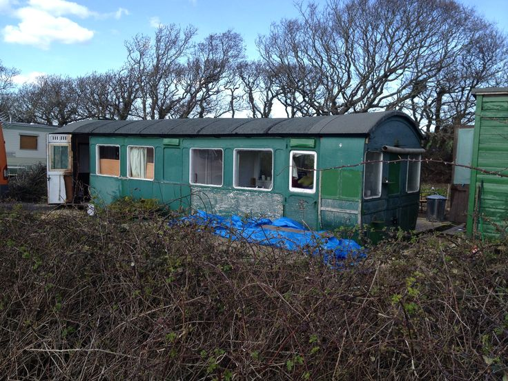Unrestored but much loved Victorian railway carriage, Thorness Bay, Isle of Wight.