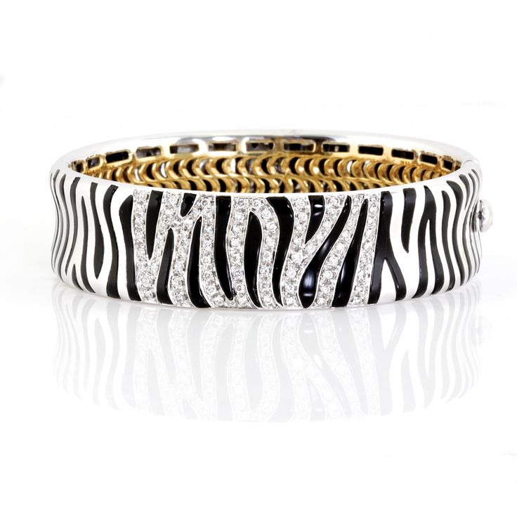 Roberto Coin Diamond and White Gold, and Onyx Zebra Bracelet: Jewelry