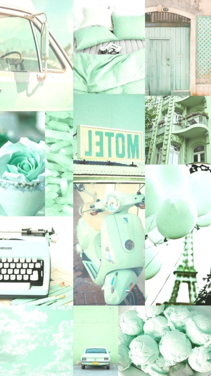 Wallpaper Background Collage Aesthetic Music Color Mint Green Paris Mint Green Aesthetic Mint Green Wallpaper Mint Wallpaper