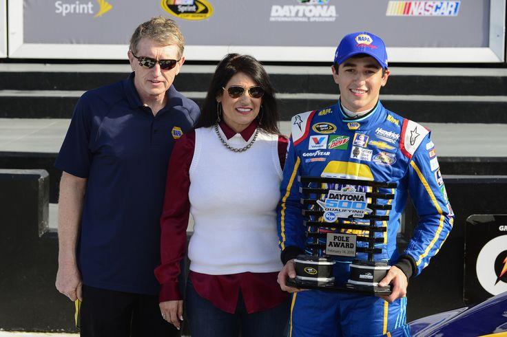 Dad-Bill, Mom-Cindy & Chase.  --  Inside Chase Elliott's 2016 Daytona 500 pole celebration | Hendrick Motorsports