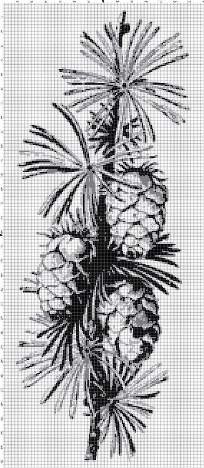 Handmade Pine Tree Grey Silhouette Cross-Stitch Pattern