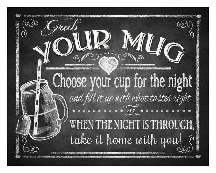 Grab Your Mug wedding favor sign