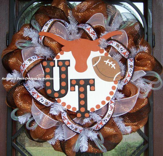 Too cute!  UT Austin University of Texas Longhorns Football #Wreath    Re-Pinned by http://high5collegeclub.com