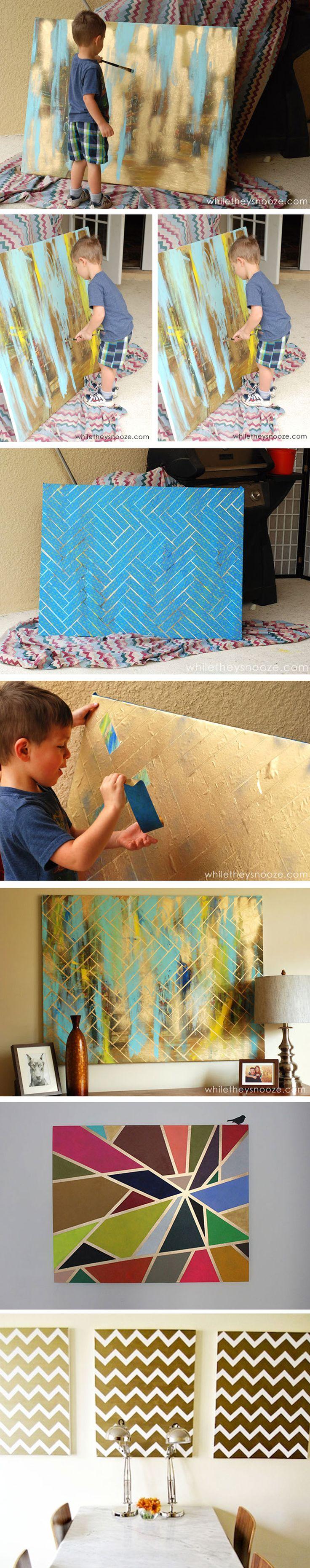 Je wilt toch ook een mooi kunstwerkje maken voor aan je eigen muur? Afhankelijk van de grote van je canvas, kan dit voor nog geen tientje! Voor de diy ga naar www.budgi.nl #diy #creatief #hobby #muur #verf #afplaktape #schaar #canvas #letters #vormen #decoratie #schilderij #tips #goedkoop #budget #besparen #budgi