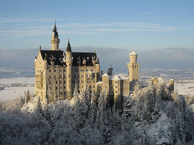 Neuschwanstein Castle in snow     One of the most famous castles in Germany. Located in southwest Bavaria (two hours by train from Munich), the palace was built by Ludwig II of Bavaria as a retreat and as a homage to Richard Wagner, the King's inspiring muse.