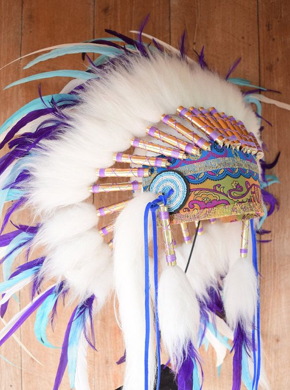 READY NOW Turquoise Purple White Gypsy Handmade Feather Headdress ....exclusively handmade by Paradise Gypsies www.paradise-gypsies.com #love #gypsy #boho #gift #her #christmas #newyear #party #costume #accessories #feather #headdress #headpiece #native #indian #style #warbonnet #costume #paradisegypsies