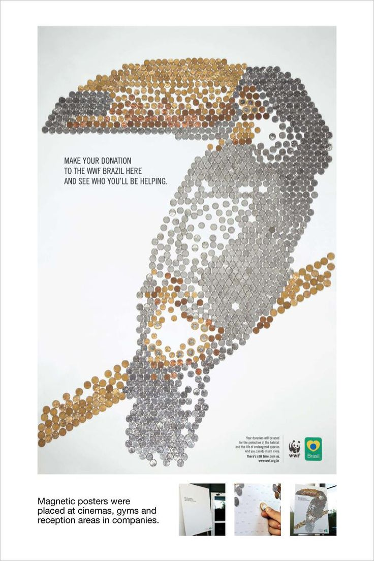 Make your donation to the WWF Brazil here and see who you'll be helping.  Advertising Agency: DDB Brazil Creative Directors: Rodolfo Sampaio, Julio Andery, Marcelo Reis, Guilherme Jahara, Sérgio Valente Art Director: Daniel Chagas Martins Copywriter: Rodrigo Mendonça Illustration: Samyr Souen Art-buyer: Clariana Regiani da Costa Account Services: Ana Paula Grassmann, Daniel Mariotto, Tania Maria Goes Pena, Ana Carla Maciel