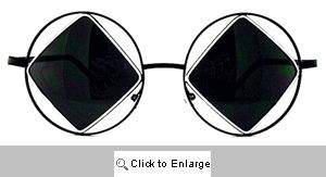 Arcane Square on Round Metal Sunglasses - 223 Black/White