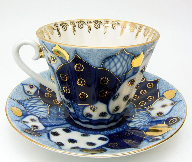 """Russian Teacup """"Golden Domes"""" from the Imperial Porcelain Factory (formerly Lomonosov) at The Russian Gift Shop in Lisle IL"""