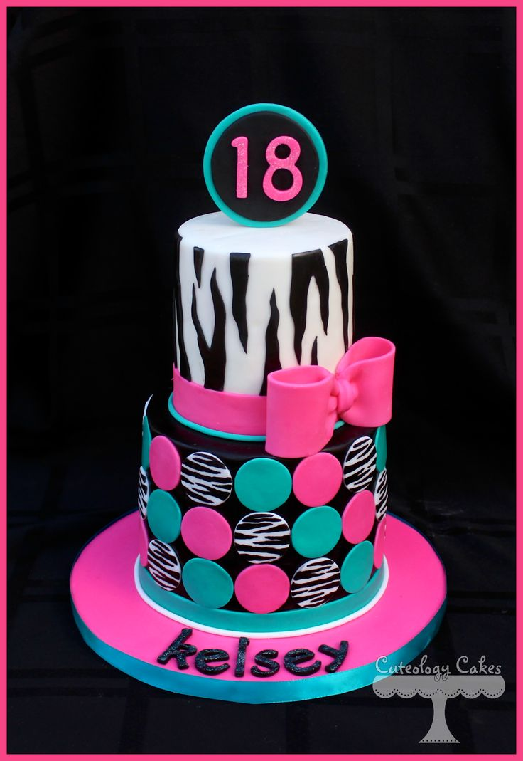 Zebra print cake with fondant bow and polka dots.  www.facebook.com/i.love.cuteology.cakes