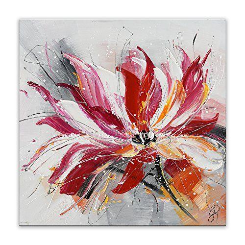 Arte dal Mondo AS426X1 τοίχο, διακόσμηση αφηρημένη λουλούδι Λουλούδια σύγχρονο ακρυλικό ζωγραφική σε καμβά με το χέρι διακοσμημένα, πολύχρωμα, 80 x 80 x 3,5 εκατοστά
