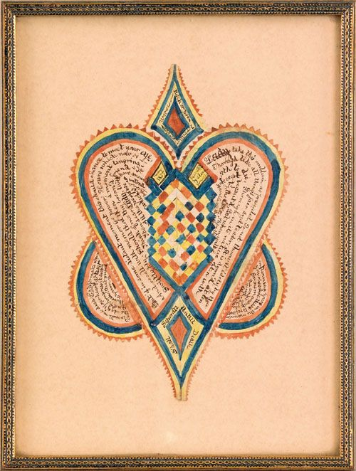"""Pennsylvania ink, watercolor, and cutwork valentine dated 1837, 5 3/4"""" x 3 3/4""""."""
