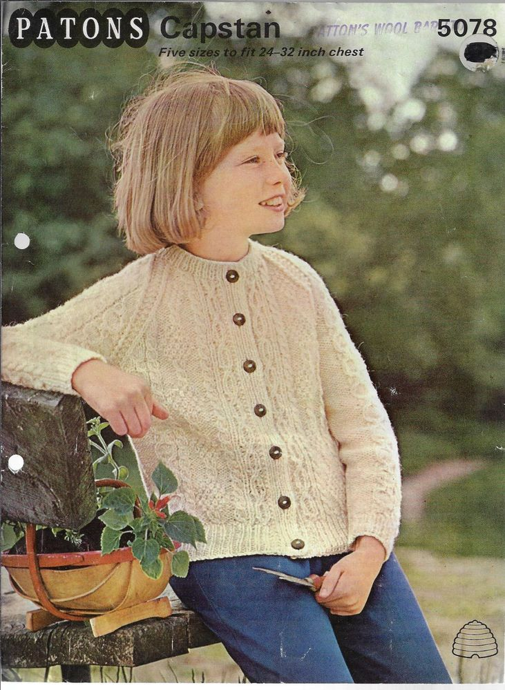 5c97c940aadc0b Child s Cable Aran Cardigan Patons 5078 vintage knitting pattern DK yarn  winter  Patons