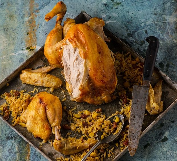 Chicken Stuffed With Rice, Almonds And Raisins.