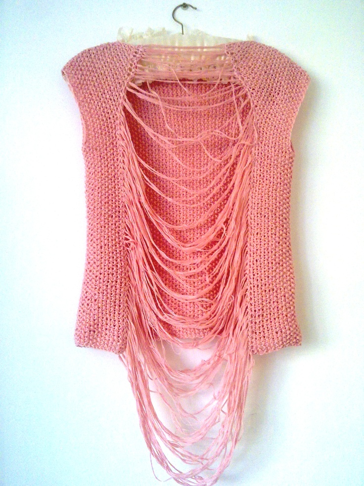 Knitted cotton top . Hand made by Knitted Lullaby