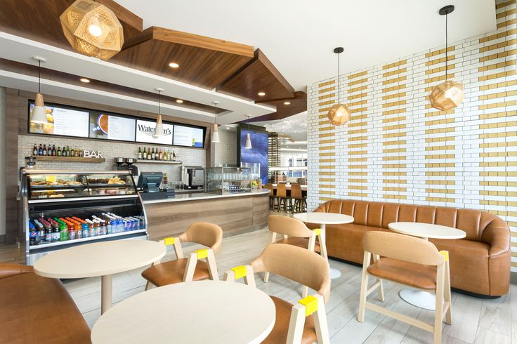 The Bar Cafe at the Courtyard Marriott Santa Monica designed by HBA Studio.