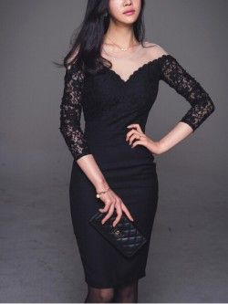 Ellie's Black Illusion Neck Long Sleeves Dress