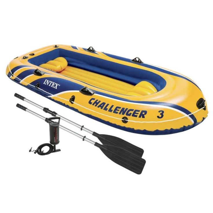 Intex Challenger 3 Inflatable Raft Boat Set With Pump And Oars | 68370EP - FREE 1-3 DAY DELIVERY WITH HASSLE-FREE, 60-DAY RETURNS! #sports #water #goods #kayaking #canoeing #inflatables #rafting #sporting #oars #inflatable #challenger #raft #boat #pump #with #intex