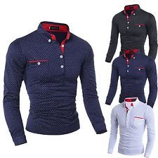 Moda nuevo para hombre de camisa de mangas largas Casual Lunares De estilo Vestir Camisas Tops