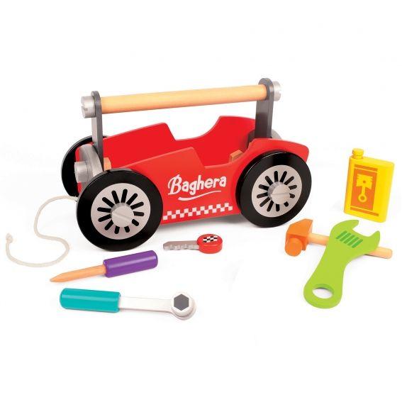 Caisse à outils en bois Baghera. Pour les apprentis mécaniciens, une caisse à outils en forme de bolide de course !