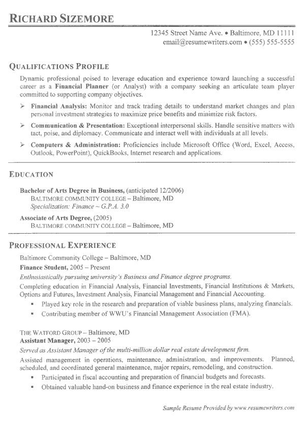 21 best Sample Resumes images on Pinterest Resume writing - associates degree resume