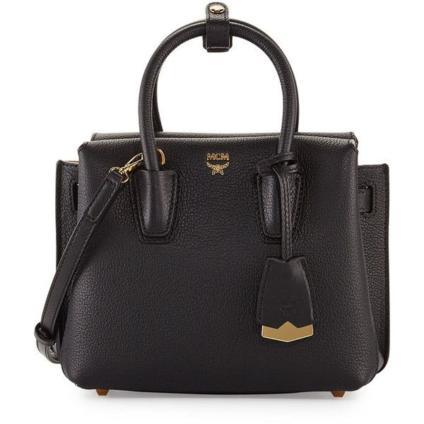Mcm Milla Mini Leather Tote Bag (€685) ❤ liked on Polyvore featuring bags, handbags, tote bags, black pattern, mini tote, genuine leather handbags, tote purses, handbags totes and mini leather tote