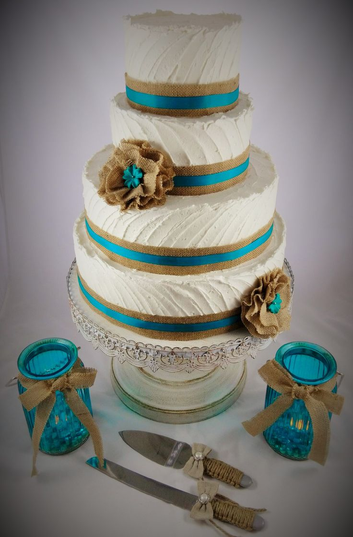 Rustic Wedding Cake, Teal, Burlap - Cakes by Maryann https://www.facebook.com/CakesbyMaryann8