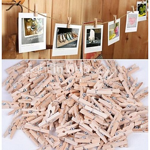 50PCS New 3x25MM Mini Natural Wooden Clothe Photo Paper Peg Clothespin Craft Clips for Wedding Decoration 2017 - $3.99