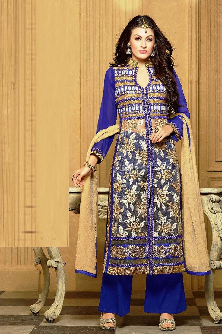 Blue Georgette Party Wear Salwar Kameez                                                                                                                                                     More