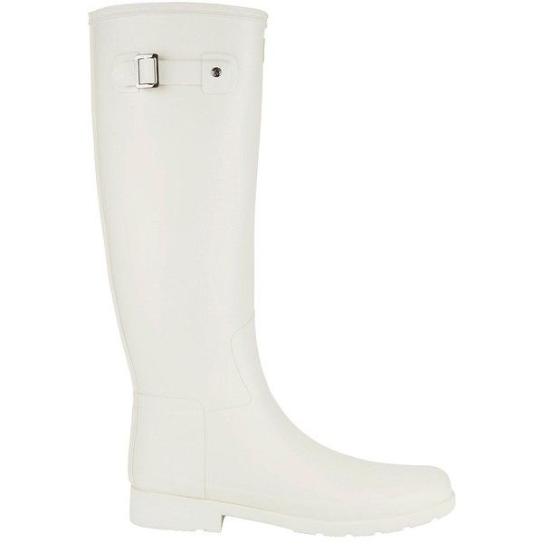Hunter Women's Original Refined Tall Wellington Boots ($165) ❤ liked on Polyvore featuring shoes, boots, white, weatherproof boots, tall boots, tall rubber boots, wellies boots and tall white boots
