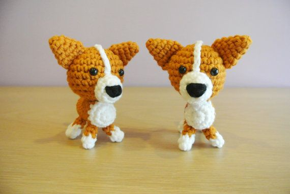 Crochet Amigurumi Corgi Puppy Dog  Material: Soft cotton yarn stuffed with polyester fiber fill  This item is made to order  Dimension: 9cm x 9cm  This doll is handmade by myself from a design and pattern by Rachel H from Little Yarn Friends  Price quoted is for 1 Corgi. Please contact me for order more than 10 pieces. I will create a separate listing for you.