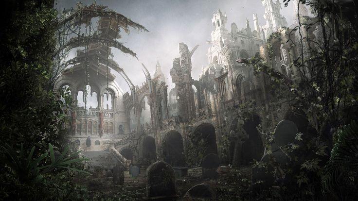 Download 1920x1080 Full HD 1080p 1080i temple, graves, ruins, vegetation Wallpaper Widescreen WallpapeprsCraft