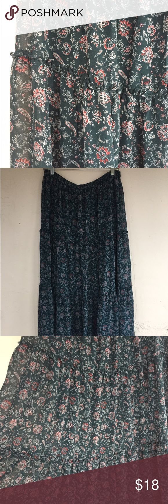 Uniqlo Floral Tiered Maxi Skirt NWOT Tiered maxi dress, falls below my feet. Never been worn. Chiffon material with lining. New without tags Uniqlo Skirts Maxi