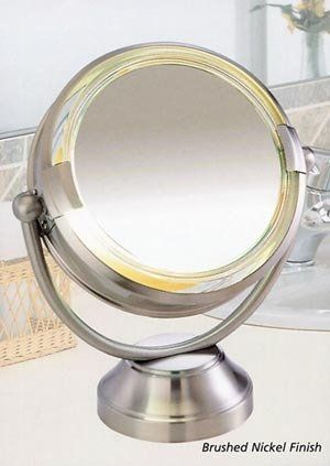 """Fluorescent CooliteTM Lighted 8 1/2"""" Double Sided Swivel Vanity Cosmetic Mirror 8x plus 1x in Satin Nickel - http://www.specialdaysgift.com/fluorescent-coolitetm-lighted-8-12-double-sided-swivel-vanity-cosmetic-mirror-8x-plus-1x-in-satin-nickel/"""