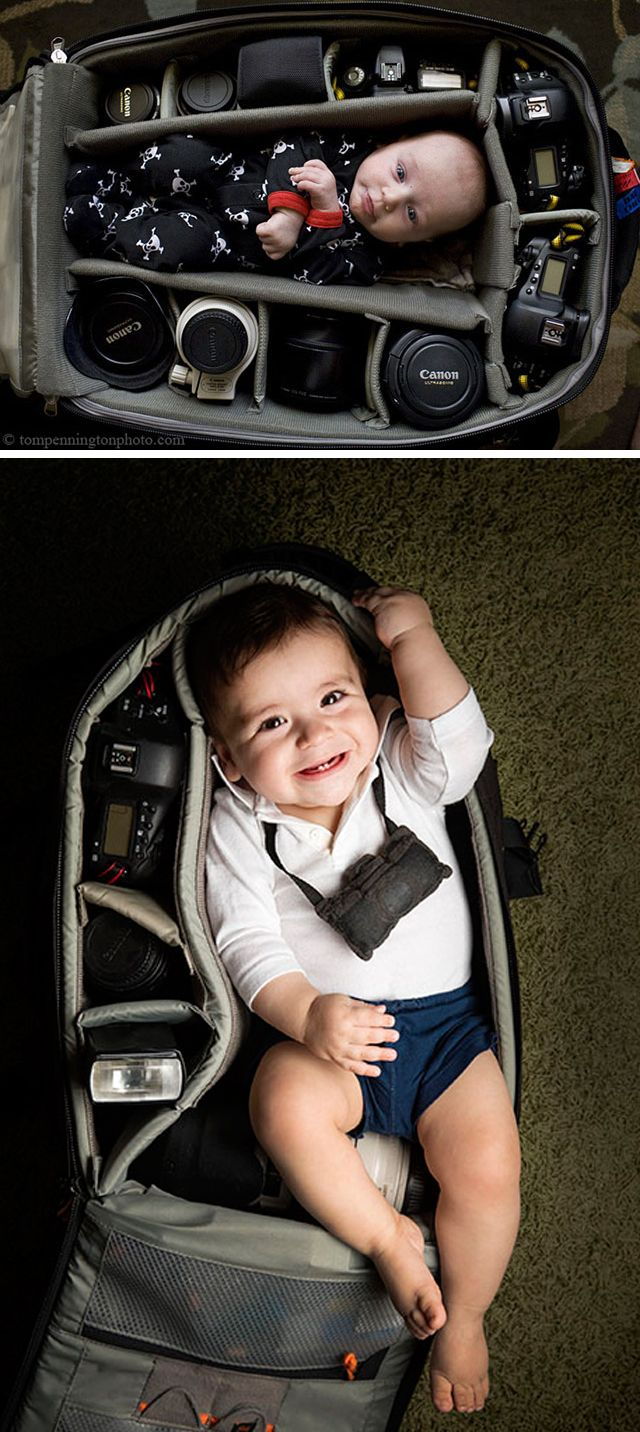 If you're a photographer, a new parent, and the owner of a large camera bag, give this cute portrait idea a shot. It might not fit a baby, but check out the DryZone Duffle for your gear. http://photojojo.com/store/awesomeness/dryzone-duffle-waterproof-camera-bag/?utm_content=buffer18c14&utm_medium=social&utm_source=pinterest.com&utm_campaign=buffer