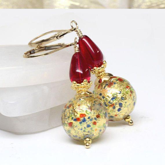 Gold Red Venetian Murano Lampwork Glass Earrings Multi Colour