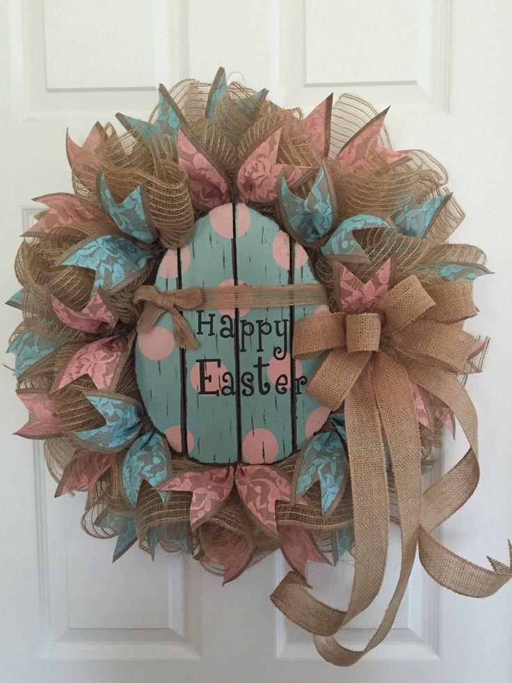 Easter Wreath, Easter Egg Wreath, Easter Greetings Wreath, Happy Easter Wreath, Easter Decor, Rustic Easter Wreath, Easter Door Bunny Wreath by RoesWreaths on Etsy https://www.etsy.com/listing/268158649/easter-wreath-easter-egg-wreath-easter