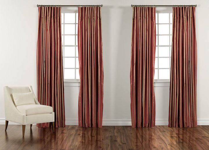 Chinois Red And Gold Taffeta Stripe Inverted Pleat Panel