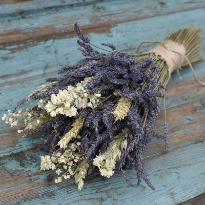Lavender Naturals Bouquet - Rustic, Lavender bunches with a twist of Wheat, Oats and Baby's Breath are a great alternative for creating a wild, bohemian look to your wedding day as a Bride's Bouquet. More