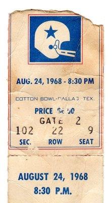 1960s Dallas Cowboys Ticket Stub Various One Ticket
