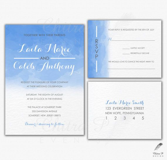 Watercolor wedding invitation rsvp postcard printed or for Digital wedding invitations with rsvp