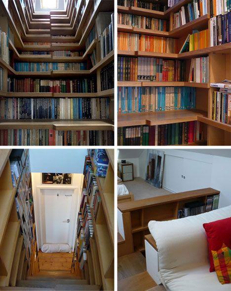 Unique storage idea for dvd/books: Bookshelf Stairs, Stair Bookcase, Bookshelf Design, Bookshelf Staircase, Stairs Bookcase, Book Stairs, Bookshelf Ideas, Bookcase Stairs, Stairs Bookshelves