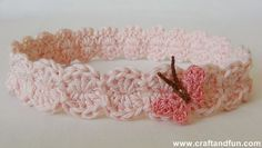 Crochet headband. Site has good photo tutorial. Work a number of chains divisible by 4, plus 3 ch at end. Work chains loosely. 3tr in 3rd ch from hook, (3ch counts as first tr), sk one ch, sl st in next ch, sk one ch, 4 tr in next ch. Rpt to last ch, 8 tr in last ch. Rpt pattern, working in bottom of ch stitches to first 4 tr, sl st to join.