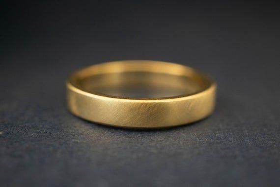 Mens 4mm Wedding Band Brushed Gold Wedding Band Men Matte Etsy In 2020 Mens Gold Wedding Band Matte Mens Wedding Bands Mens Gold Rings