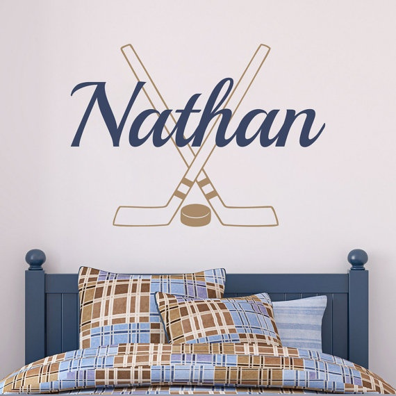Hockey Wall Decal Personalized With Name Sticks And Puck Athletic Sports Vinyl Boys Room Art BN027