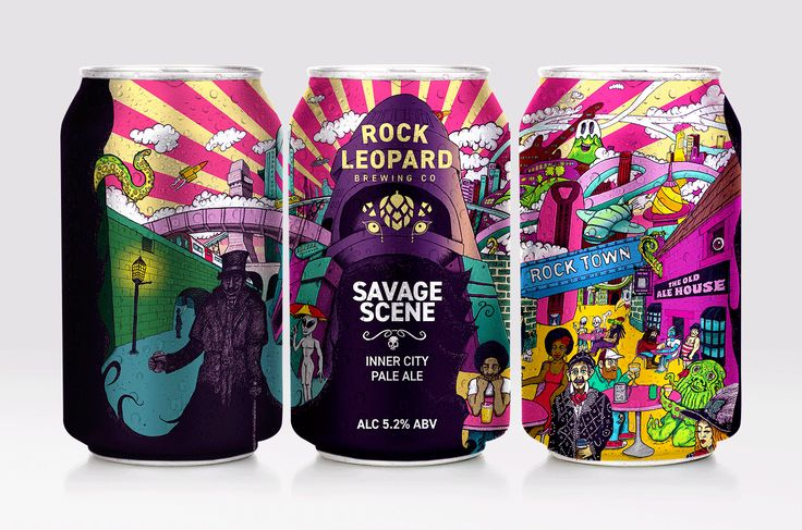 Savage Scene Inner City Pale Ale - Rock Leopard Brewing Co. Craft Beer Can Illustration