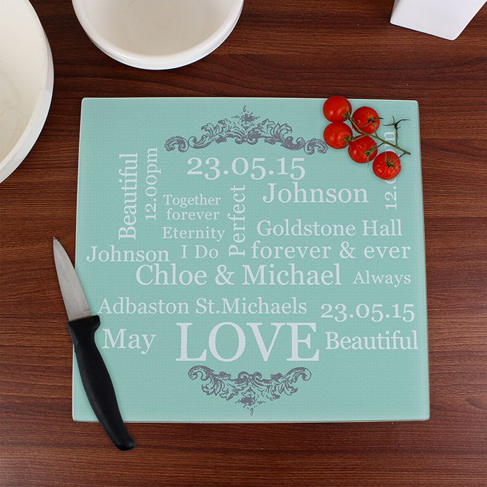 Personalise This Square Typography Gl Chopping Board With A Names Date Time Venue And Your Own Message To Create Useful Contemporary Wedding