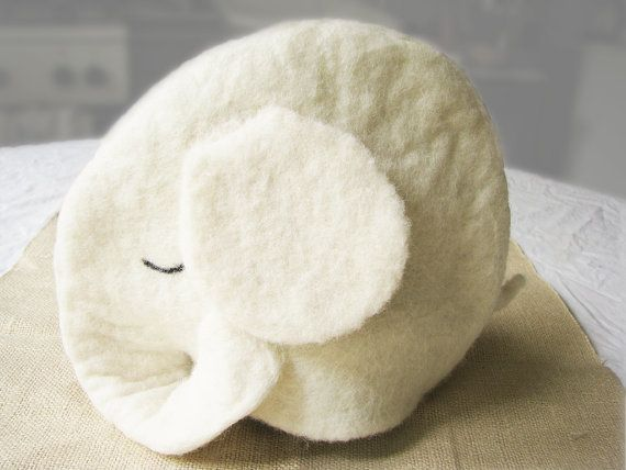 ooak Felt teapot cozy white elephant Ratri natural wool by Grimme, $45.00
